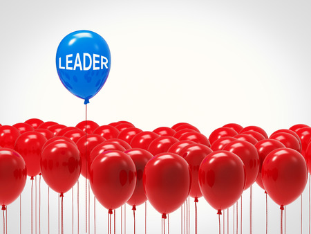 in differentiation: leadership concept with blue balloon among red balloons