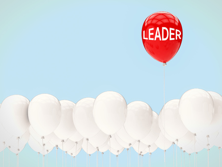 in differentiation: leadership concept with red balloon among blue balloons