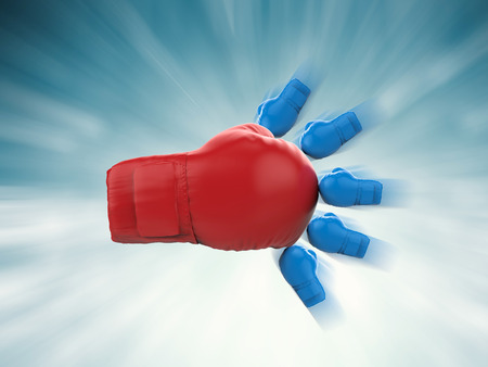 battleship: championship concept with red boxing glove and blue boxing gloves