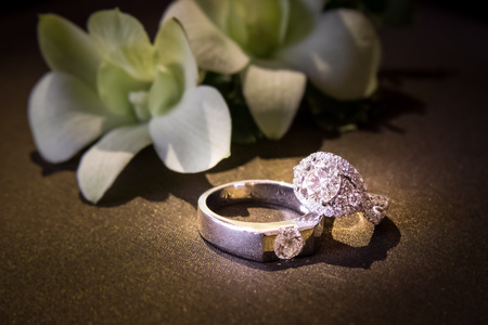 diamond rings: two wedding rings with diamond