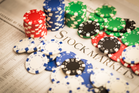 stock market concept with gambling chips