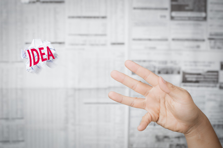 bad idea: creative thinking concept with hand throwing bad idea Stock Photo