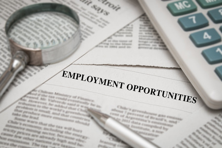 seeker: employment opportunities headline on newspaper