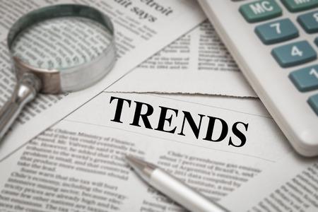 tendency: trends headline on newspaper background