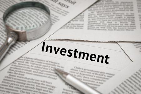 investment headline on newspaper media
