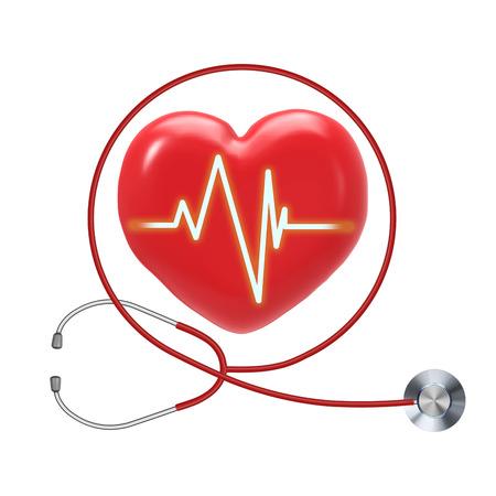 Gesundheitscheck mit roter Herzform und Stethoskop Standard-Bild
