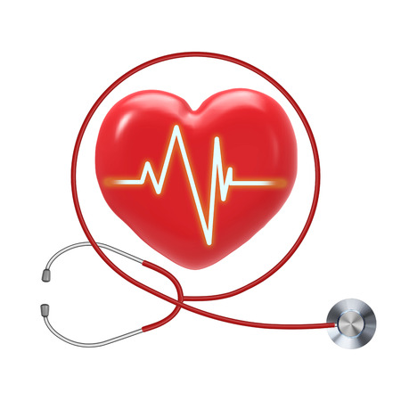 pulse trace: health check up with red heart shape and stethoscope Stock Photo
