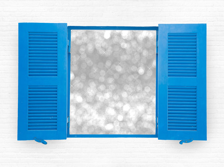 casement: blue opened windows on white wall