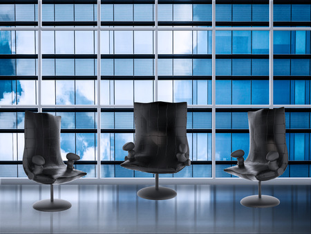 common room: 3d rendering empty chairs in meeting room with office building background