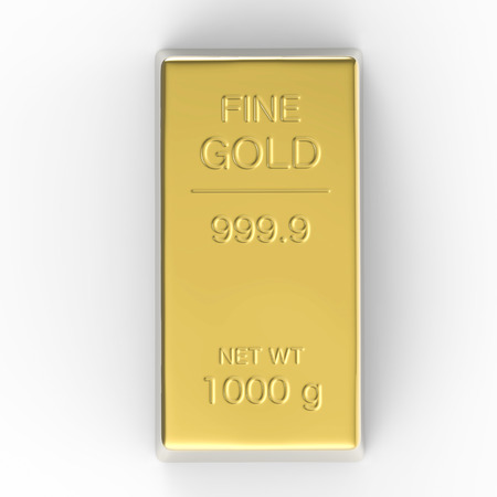 gold bar: 1000 g of gold bar or bullion on white background