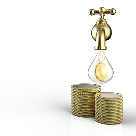 3d rendering golden tap with gold coins falling
