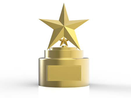 3d rendering gold star trophy on white background Stock Photo