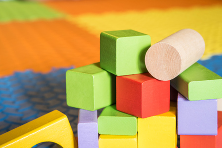 colorful wooden block toys for kids Stock Photo