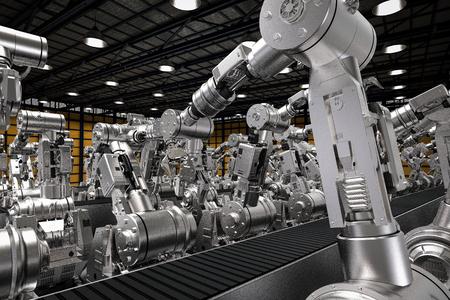 3 차원 빈 컨베이어 벨트와 로봇 팔을 렌더링 스톡 콘텐츠