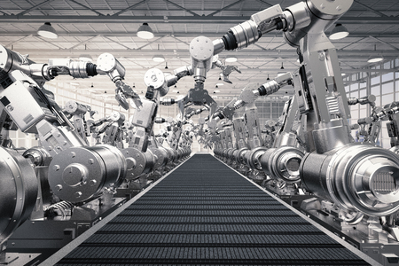 空のコンベア ベルトで 3 d レンダリング ロボット アーム