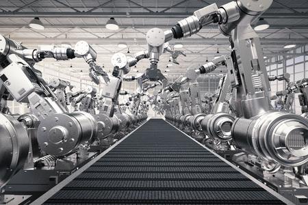 Representación 3D brazos robóticos con cinta transportadora vacía Foto de archivo