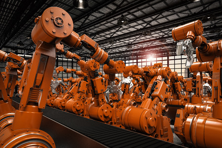 3d rendering robotic arms with empty conveyor belt Reklamní fotografie