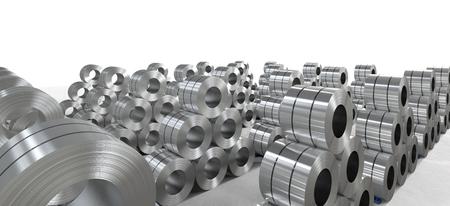 steel sheet: 3d rendering roll of steel sheet in factory