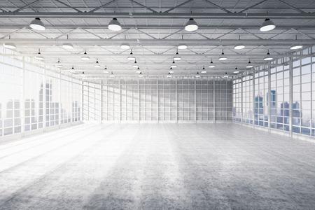 3d rendering interior empty factory Banco de Imagens