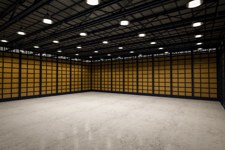 stockroom: 3d rendering interior empty factory