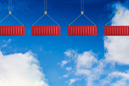 3d rendering red container hanging with blue sky background