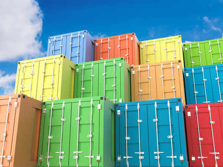 3d rendering heap of colorful containers
