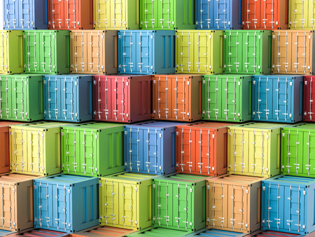 color distribution: 3d rendering heap of colorful containers