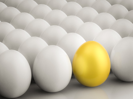 differentiation: leadership concept with golden egg among white eggs