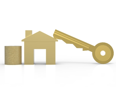gold key: home ownership concept with golden mock up house and gold key Stock Photo