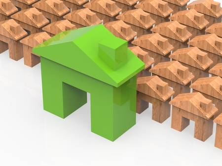 differentiation: green mock up house with wooden mock up houses Stock Photo