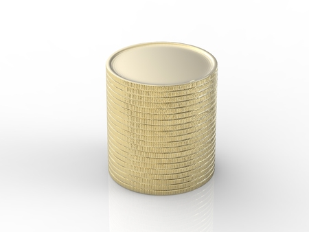 golden coins: stack of golden coins on white background