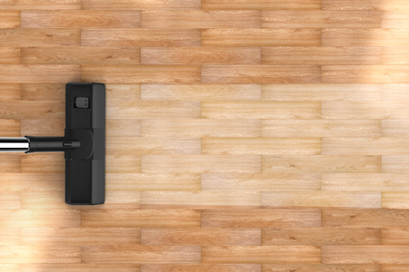 empty room background: 3d rendering vacuum cleaning with blank strip on wooden background