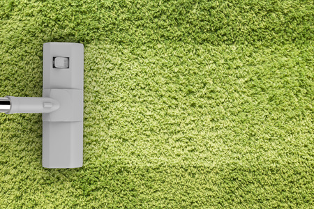 green carpet: 3d rendering vacuum cleaning with blank strip on green carpet