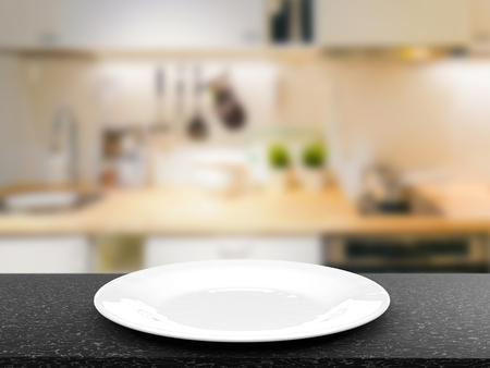 granite countertop: 3d rendering empty dish with kitchen background