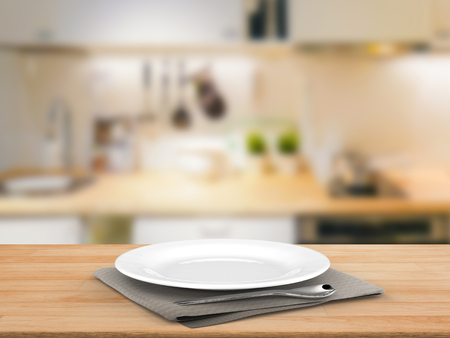 clean dishes: 3d rendering empty dish with kitchen background