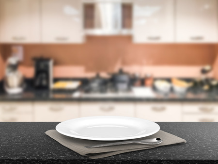 3d rendering empty dish with kitchen background