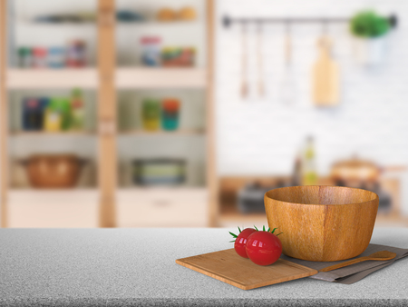 3d rendering granite counter top with tomato and wooden bowl in kitchen