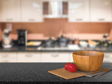 cabinetry: 3d rendering granite counter top with tomato and wooden bowl in kitchen