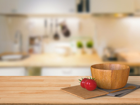 counter top: 3d rendering wooden counter top with tomato and wooden bowl in kitchen Stock Photo