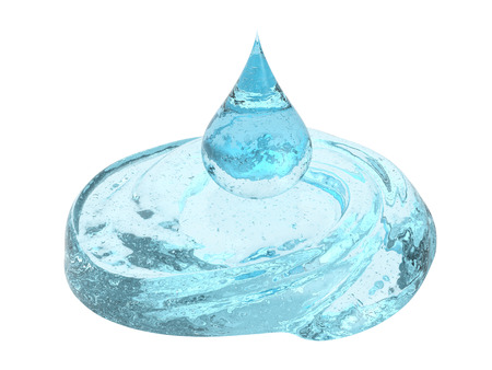 3d rendering droplet of blue cosmetic gel isolated on white