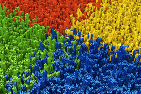 differentiation: 3d rendering area divide with multicolor building Stock Photo