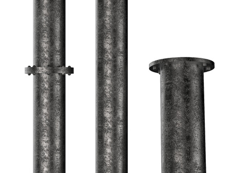 flange: black metal pipe with flange joint isolated on white