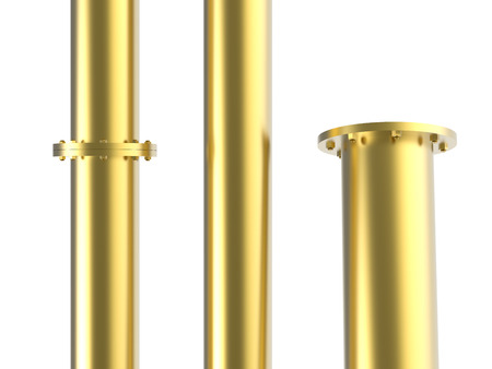 golden pipe with flange joint isolated on white Stock Photo