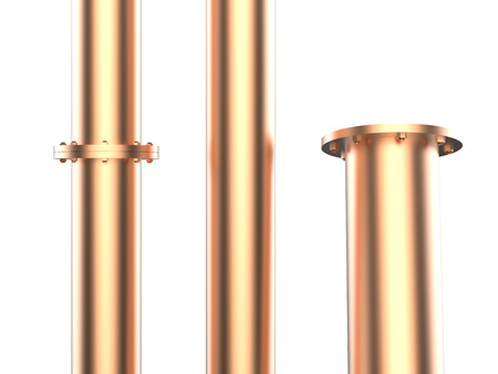 flange: copper pipe with flange joint isolated on white
