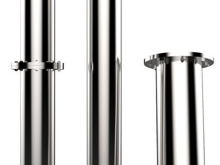metal pipe: shiny metal pipe with flange joint isolated on white