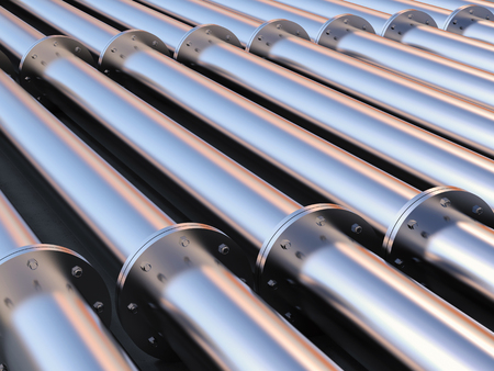 3d rendering metal pipeline with flanges joint Stock Photo