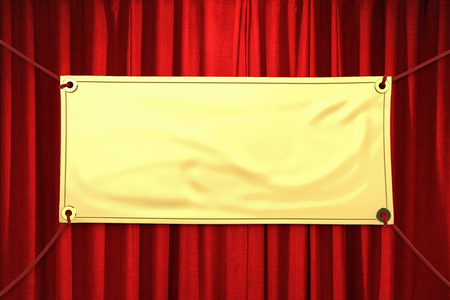 gold vinyl banner hanging with red rope