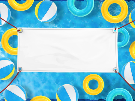 blank white vinyl banner hanging with rope