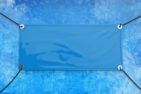 empty blue vinyl banner hanging with rope Stock Photo