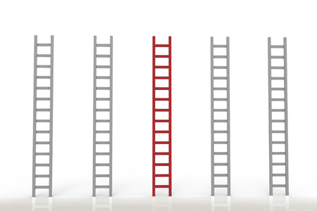 differentiation: leadership concept with red ladder among grey ladders